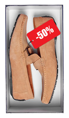 Pair of male brown mocassins with discount tag in box