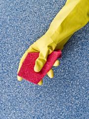 Yellow glove with sponge