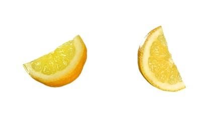 Quarter of tasty lemon isolated on white. Luma included.