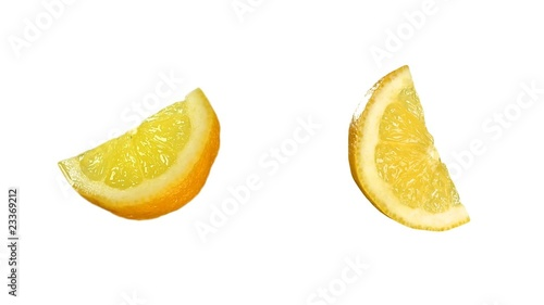 Quarter of tasty lemon isolated on white. Luma included.