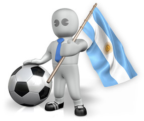 An Argentina football fan with a flag and a ball in South Africa
