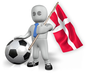 A Denmark football fan with a flag and a ball in South Africa