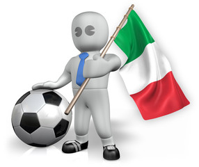 An Italy football fan with a flag and a ball in South Africa