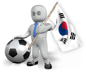 A Korea Republic football fan with a flag and a ball in South Af