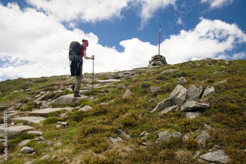 Alone women on mountain path