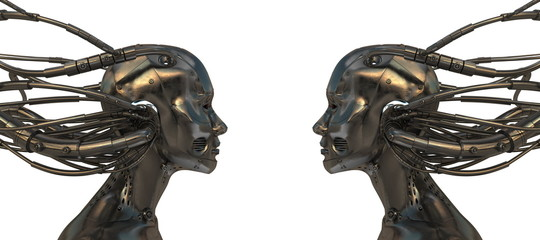 Metal Robotic heads in profile