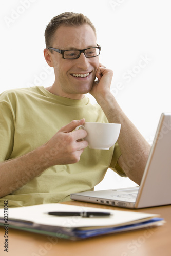 Man Relaxing at Laptop - Isolated