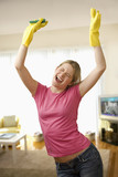 Young Woman Excited About Cleaning