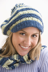 Attractive Young Woman in a Knit Cap