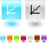 Positive trend square button. poster
