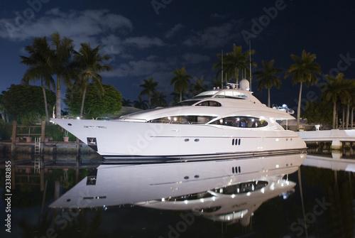 night shot of luxury yacht - 23382855