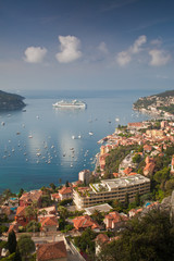 Luxury cruise liner moored offf Villefranche-sur-Mer