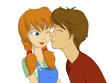 Teenage boy trying to kiss red girl with pigtail