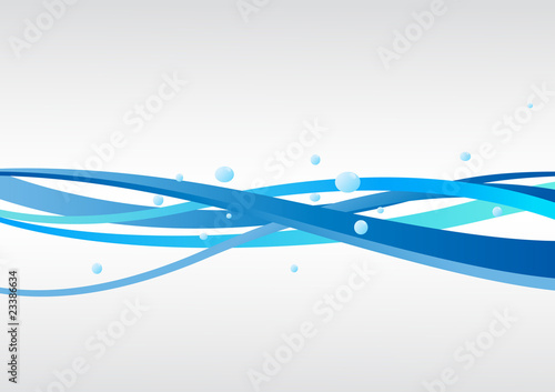 Vector blue background with waves - 23386634