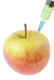 Apple and syringe. genetic modification food. poster