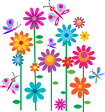 Fototapety Springtime flowers and butterflies