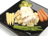 Grilled Cod with Couscous and Steamed Vegetables