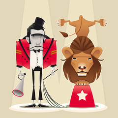 Lion Tamer with lion. Cartoon and vector circus illustration.