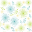 Retro flowers and leaves pattern