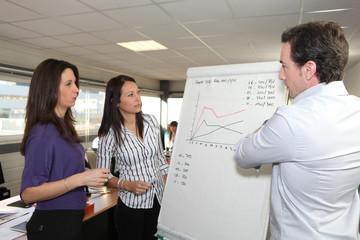 Commerciaux devant tableau de statistiques