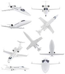 Collage of isolated commercial airplane