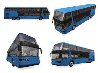 Collage of isolated bus