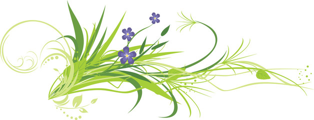 Flowers with grass. Vector