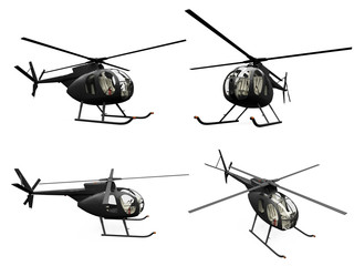 Collage of isolated helicopter