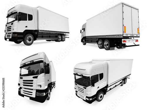 Collage of isolated truck