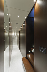 Italy, luxury yacht Tecnomar 36, bedrooms corridor