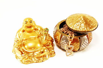 Feng Shui. God of wealth and gold ornaments