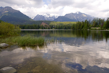 lake and mountain view, Strbske Pleso in Slovakia