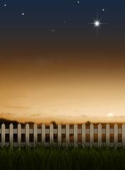 夕暮れの草原