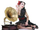 Fototapety pretty girl listening music on old gramophone
