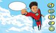 Superhero Kid flying through clouds
