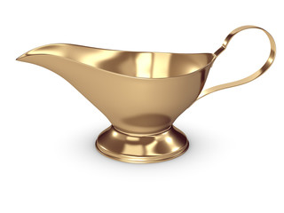 gold gravy boat isolated on white