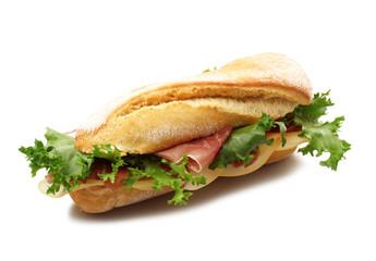 panino con prosciutto, insalata e formaggio