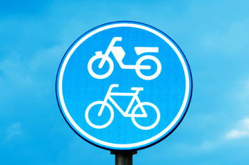 motorcycle and bicycle lane sign