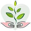 Icone Mains et Plante sur Fond Coeur