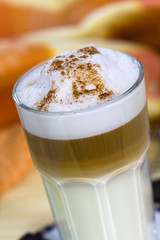 Latte Macchiato and Sweet Cookies ,Chocolate,Almonds
