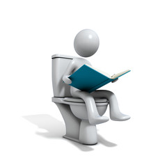 Men sitting at the toilet bowl with a book.