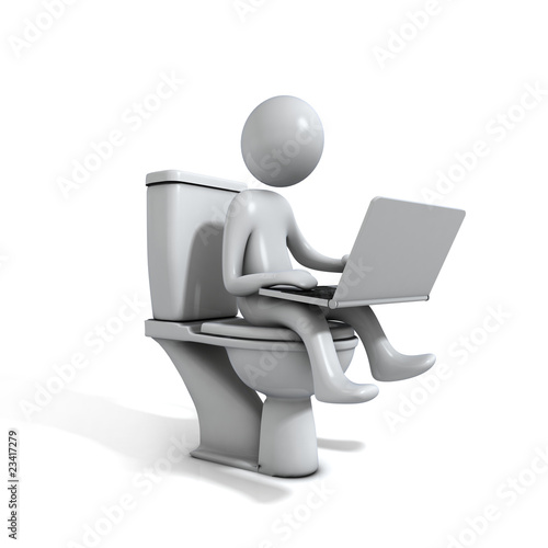 Men sitting at the toilet bowl with a laptop