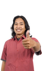 Long hair man give thumb