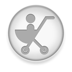 "White Button / Icon ""Stroller / Baby Transport"""
