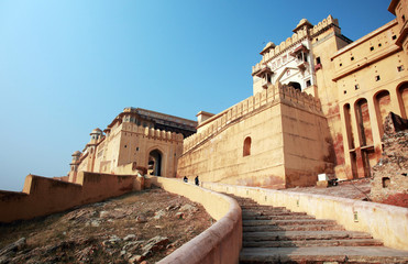 Stairs leading into beautiful Amber Fort near Jaipur, India.