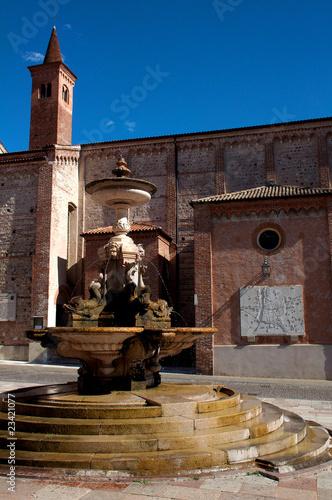 Leinwanddruck Bild bassano del grappa piazza garibaldi fontana chiesa provincia di