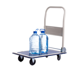 transport cart with two bottles of water