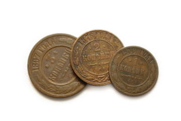 three old copper coins of Russia