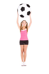 lovely woman with big soccer ball