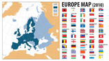 Europe map and flags, including Turkey and Kosovo poster